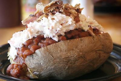 Cheese bacon coleslaw baked potato